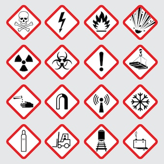 Pictogrammes de vecteur de danger d'avertissement