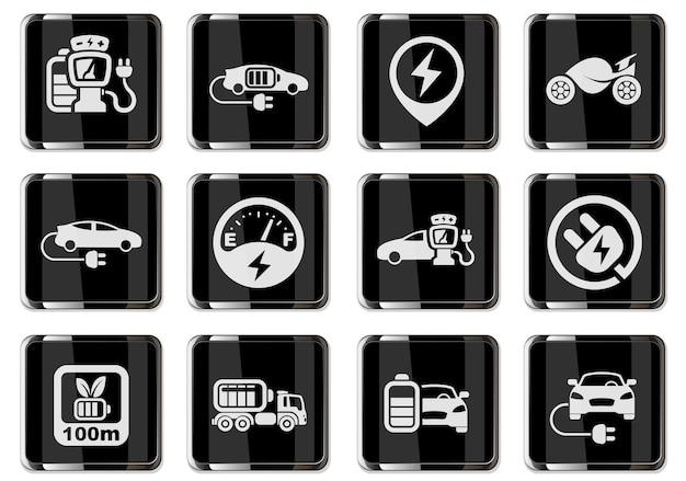 Pictogrammes de voiture électrique en boutons chromés noirs. jeu d'icônes pour la conception de l'interface utilisateur