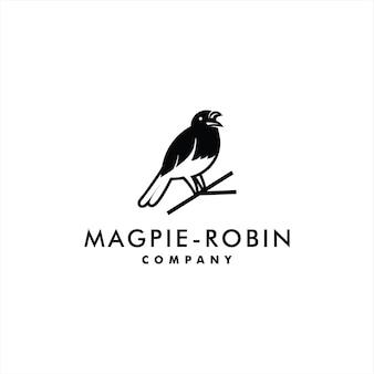 Pie logo robin oiseau vecteur