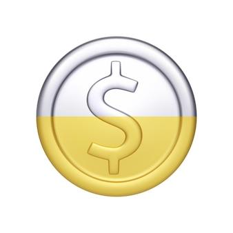 Pièce d'argent et d'or avec symbole dollar. argent métallique. illustration vectorielle isolée sur fond blanc