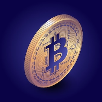 Pièce de bitcoin isométrique sur fond sombre
