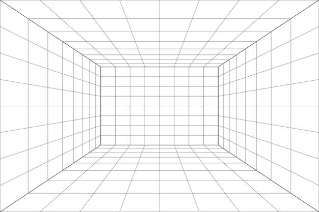 Pièce blanche de perspective de grille avec le fond gris de fil de fer. modèle de technologie de cyber-boîte numérique. modèle architectural abstrait de vecteur