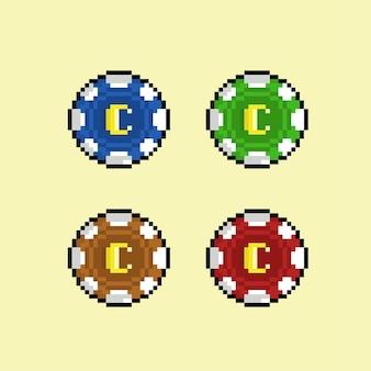 Pièce de casino avec une couleur différente dans le style pixel art