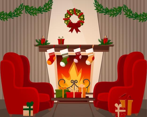 Une pièce avec une cheminée et deux fauteuils. décorations de noël, ciseaux et couronnes