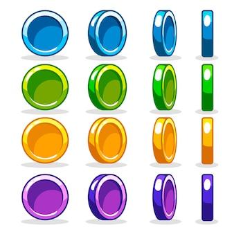 Pièce colorée, animation de rotation au tour par tour du jeu