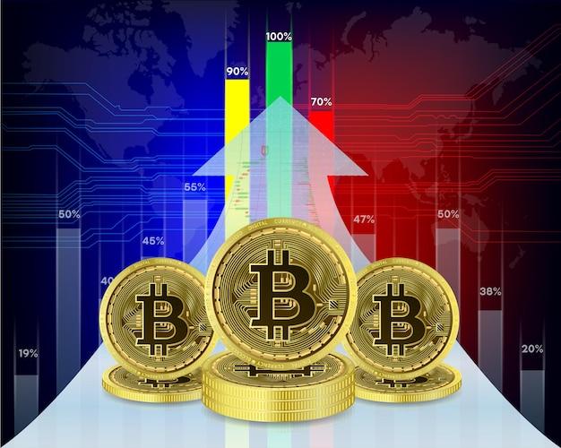Pièce de crypto-monnaie bitcoin avec graphique de croissance bourse internationale