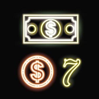 Pièce de monnaie néon et sept icône