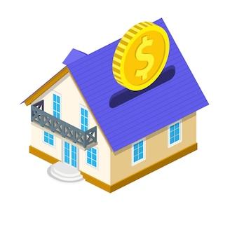Pièce d'un dollar en or isométrique tombant dans la tirelire de la maison.
