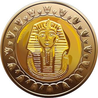 Pièce égyptienne de vecteur avec pharaon