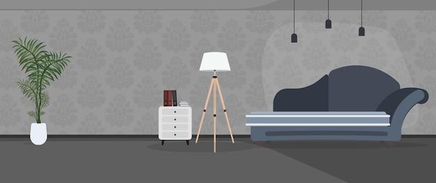 La pièce est faite dans des couleurs sombres. canapé élégant bleu foncé, lampadaire, plante d'intérieur dans un pot blanc. papier peint gris avec un motif. vecteur.