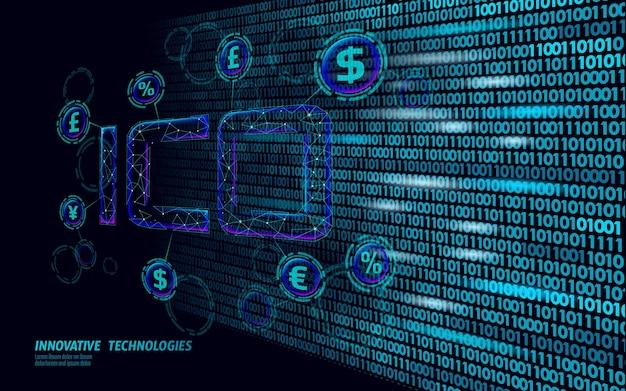 Pièce initiale offrant ico lettres technologie concept entreprise finance économie low poly design style monnaie crypto banque en ligne offre internet commerce bloc chaîne illustration vectorielle