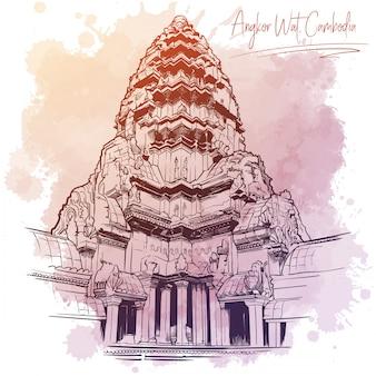 Pièce maîtresse du temple d'angkor wat. dessin linéaire isolé sur une tache aquarelle grunge