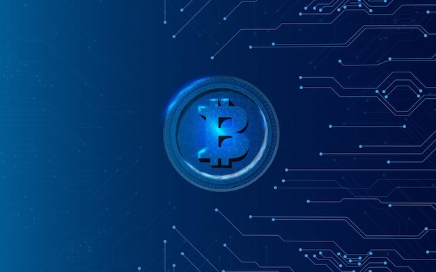 Pièce de monnaie bitcoin dans un style technologique sur fond bleu foncé