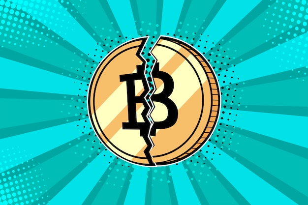 Pièce de monnaie bitcoin doré pop art cassée en deux