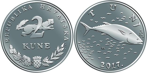 Pièce de monnaie croate 2 kuna, thon au revers, martre à l'avers, pièce officielle en croatie