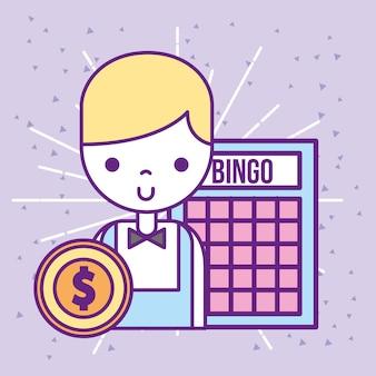 Pièce de monnaie de jeu de bingo masculin de casino croupier