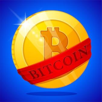 Pièce de monnaie plate en bitcoin d'or avec ruban rouge. l'argent numérique. illustration vectorielle