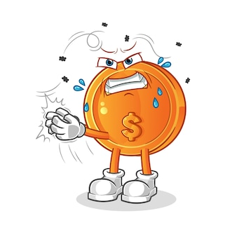 Pièce de monnaie swat la mascotte de dessin animé de personnage de mouche