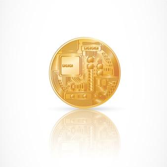 Pièce d'or avec composants électroniques