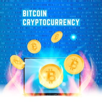 Pièce d'or en crypto-monnaie avec ordinateur portable sur des nombres aléatoires