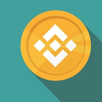 Pièce d'or design plat binance coin - bnb, crypto-monnaie numérique. illustration vectorielle isolée sur fond bleu