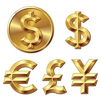 Pièce D'or Avec Signe Dollar Vecteur Premium