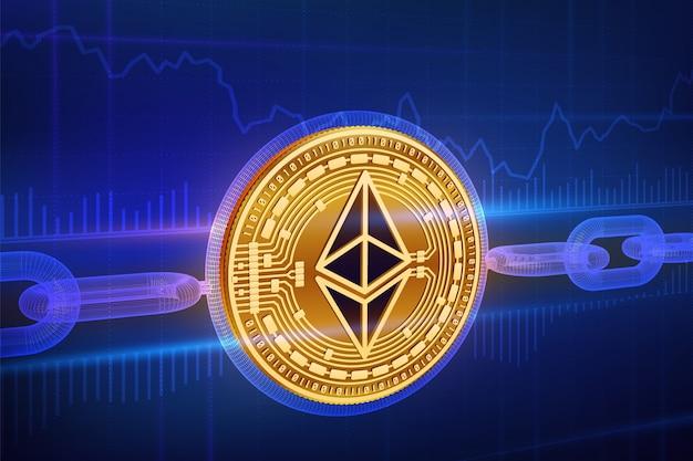 Pièce physique ethereum dorée avec chaîne filaire. concept de blockchain.