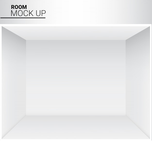 Pièce vide blanche réaliste de 3d pour la boutique, illustration d'exposition de magasin