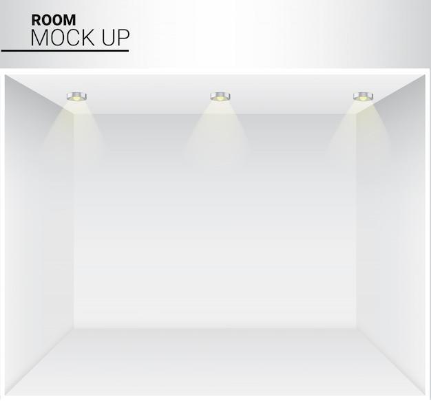 Pièce vide blanche réaliste avec la lumière pour la boutique, fond d'exposition de magasin
