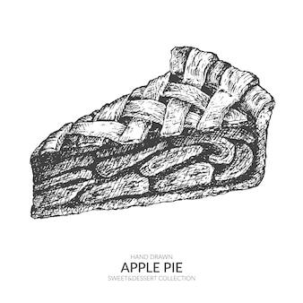Pièce vintage dessinés à la main de tarte aux pommes.