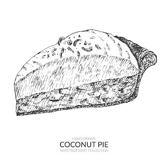 Pièce vintage dessinés à la main de tarte à la noix de coco.