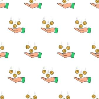Pièces d'argent tombant à la main modèle sans couture sur un fond blanc. illustration vectorielle de thème d'affaires