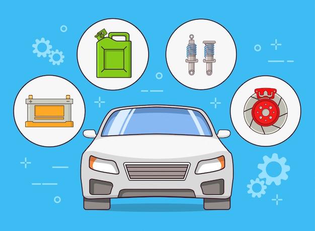 Pièces automobiles vue de face de voiture, rotor de frein, batterie d'accumulateur, cartouche de carburant.