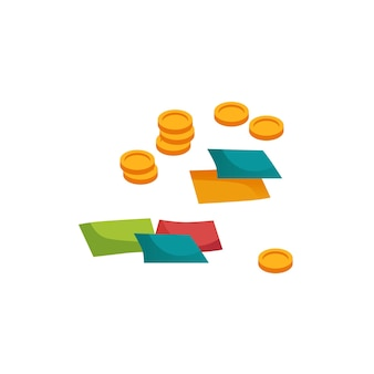 Pièces et cartes de dessin animé plat, concept d'illustration vectorielle de divertissement de jeu