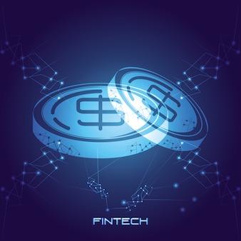 Pièces d'argent technologie financière vector illustration design
