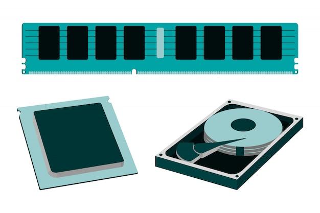 Pièces de dessin animé pour pc personnel. disque dur, ram, cpu.