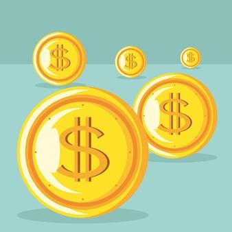 Pièces d'un dollar en argent