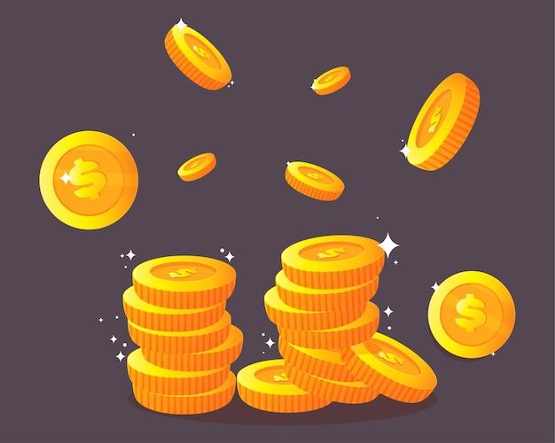 Pièces d'un dollar illustration de dessin animé d'or