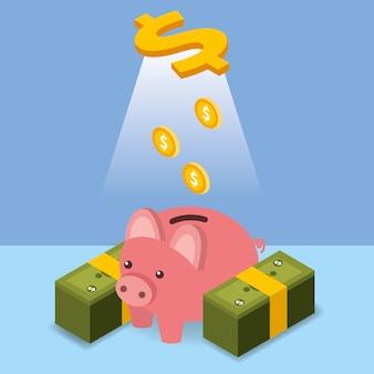 Pièces d'un dollar versant tirelire argent isométrique