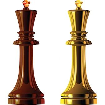 Pièces d'échecs, ensemble roi noir et blanc