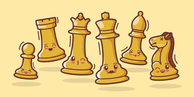 Pièces d'échecs illustration de dessin animé mignon