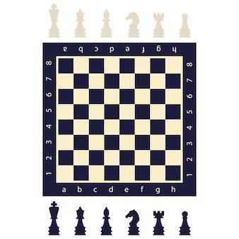 Pièces d'échecs en noir et blanc et une planche. jeu plat chiffres icônes isolés sur fond.