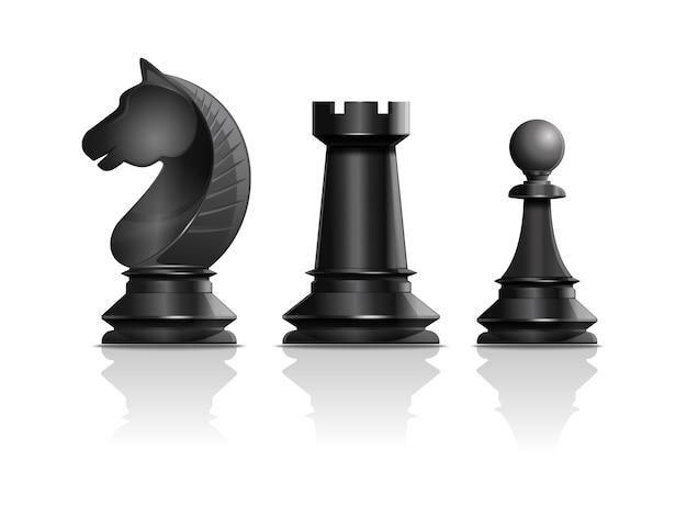 Pièces d'échecs noires chevalier, tour, pion. ensemble de pièces d'échecs.