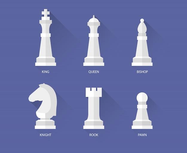 Pièces d'échecs plats icônes