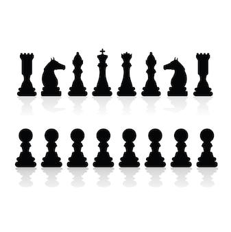 Pièces d'échecs silhouettes