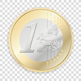 Pièces en euros isolés sur fond transparent