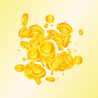 Les pièces en euros de l'union européenne tombent. incroyables pièces en euros éparses. l'argent européen. concept exotique de jackpot, de richesse ou de réussite. illustration vectorielle.
