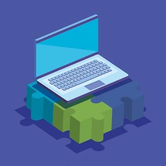 Pièces de jeu de puzzle avec ordinateur portable