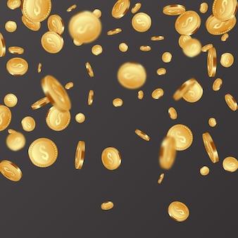 Pièces métalliques dorées tombantes réalistes 3d, signe dollar.