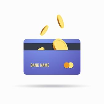 Pièces de monnaie et carte bancaire, concept d'argent en ligne